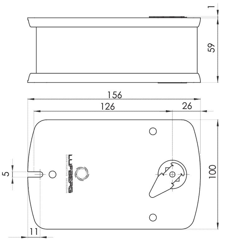 Габаритные размеры электропривода Lufberg FS05S220S 5Нм/230В противопожарного клапана