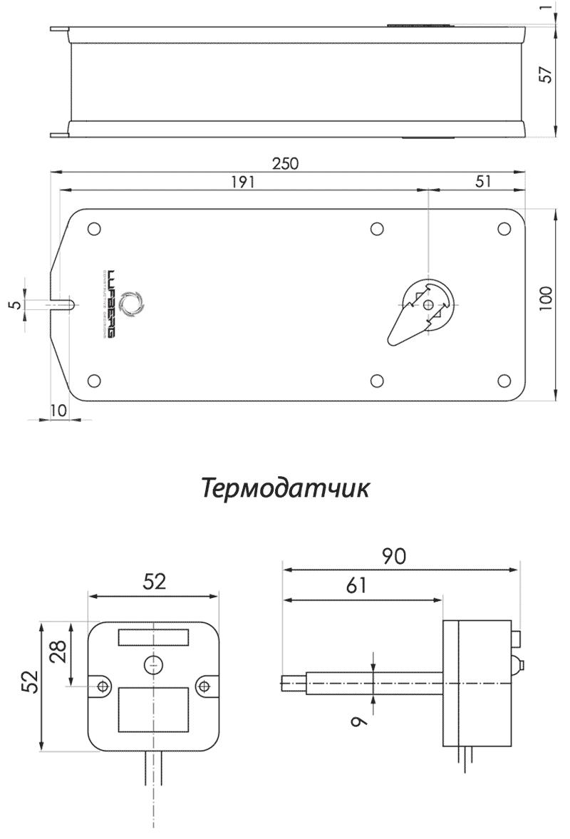 Габаритные размеры электропривода Lufberg FS10S24ST 10Нм/24В противопожарного клапана