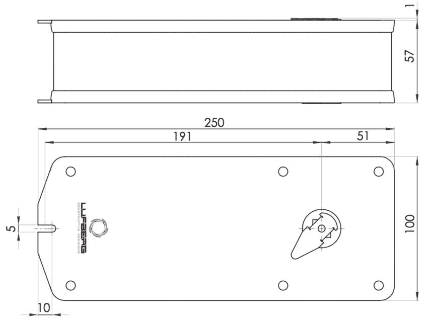 Габаритные размеры электропривода Lufberg FS15S220ST 15Нм/230В противопожарного клапана