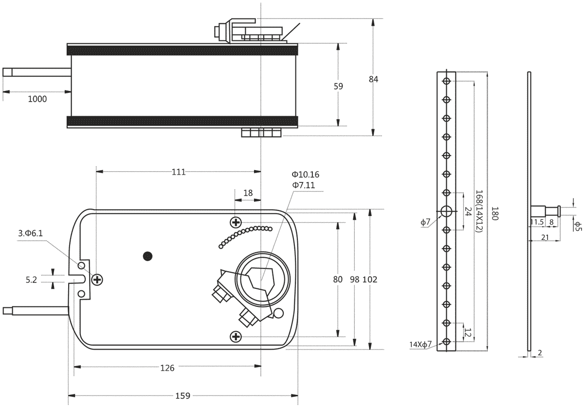 Габаритные размеры электропривода Dastech AR-05N24S-R 5Нм/24В воздушного клапана