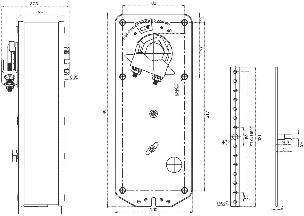 Габаритные размеры электропривода Dastech AR-10N220 10Нм/230В воздушного клапана