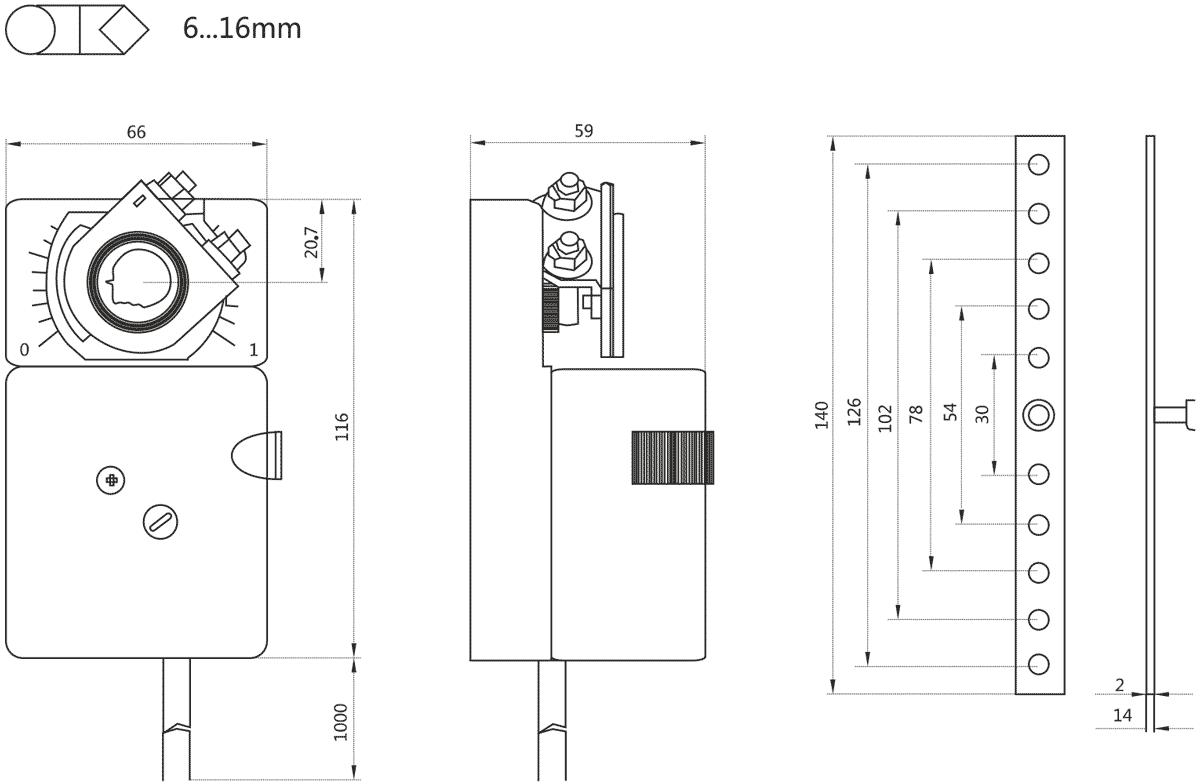 Габаритные размеры электропривода Dastech DA-02N24A-SR 2Нм/24В воздушного клапана