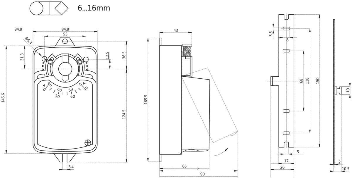 Габаритные размеры электропривода Dastech DA-04N24A-SR 4Нм/24В воздушного клапана