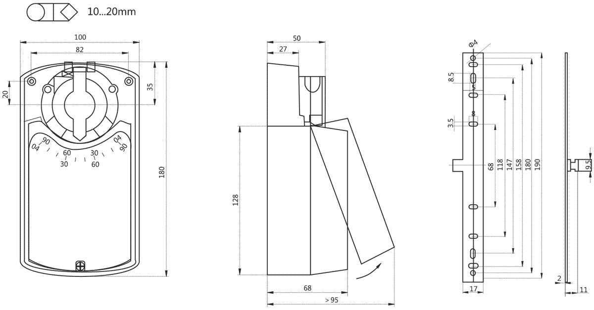 Габаритные размеры электропривода Dastech DA-16N24-SR 16Нм/24В воздушного клапана