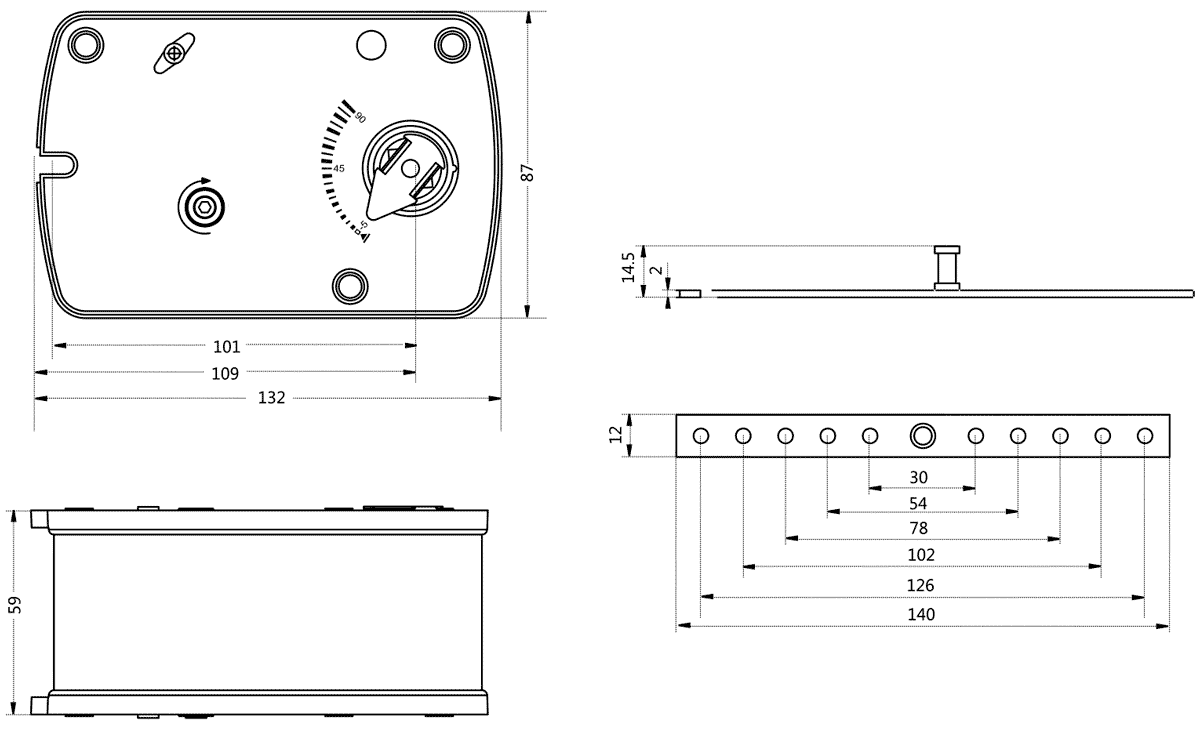 Габаритные размеры электропривода Dastech FR-03N24S 3Нм/24В противопожарного клапана