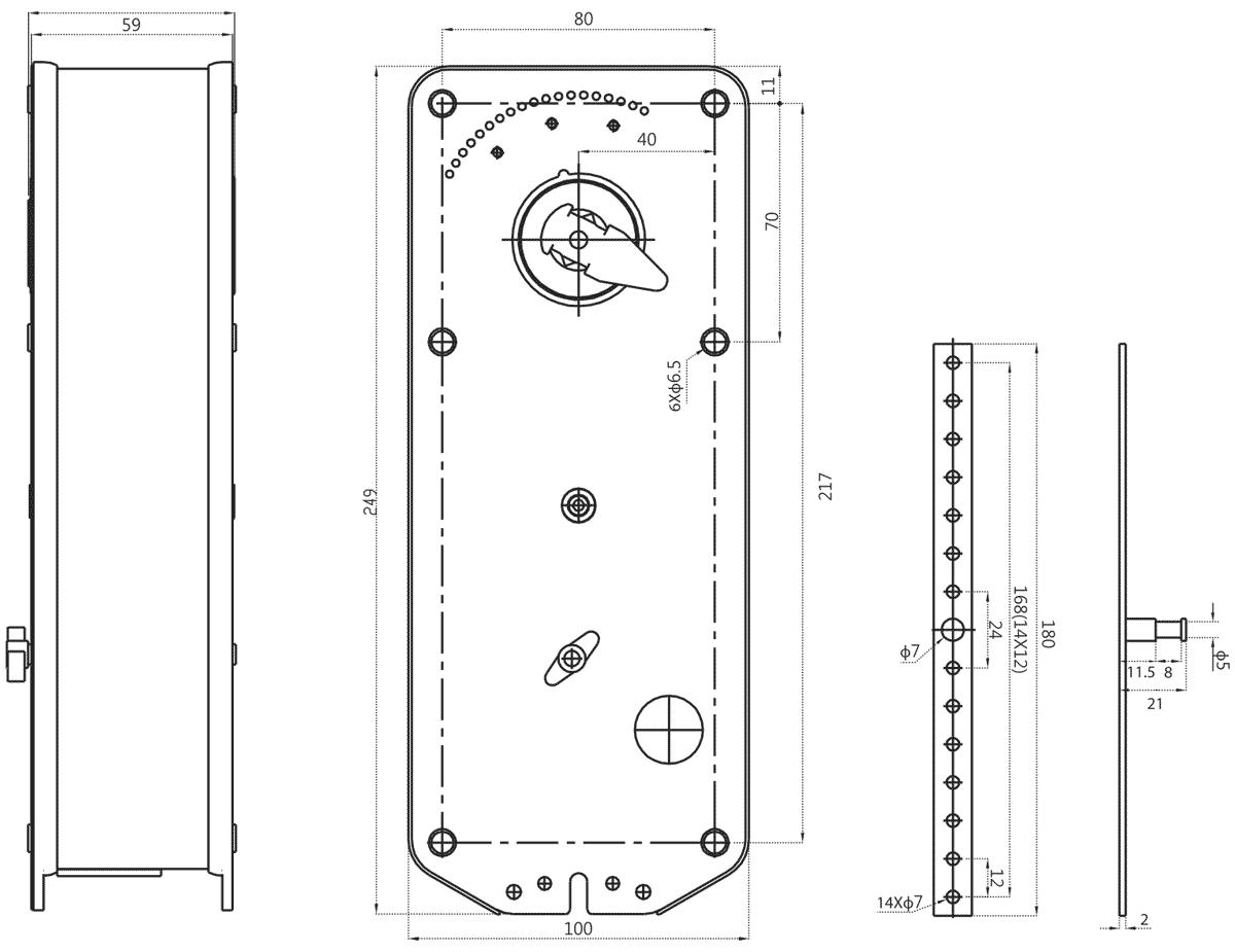 Габаритные размеры электропривода Dastech FR-10N24ST 10Нм/24В противопожарного клапана
