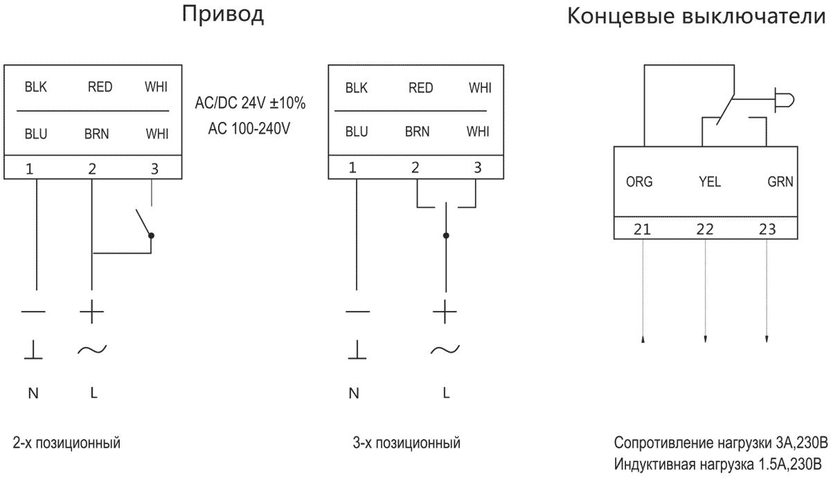 Схема подключения электропривода Dastech DA-02N24A-SR 2Нм/24В воздушного клапана