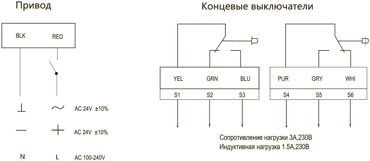 Схема подключения электропривода Dastech FR-10N24ST 10Нм/24В противопожарного клапана