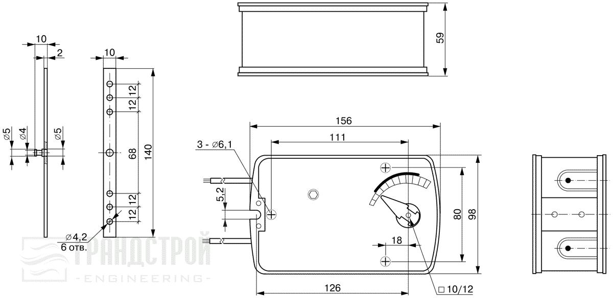Габаритные размеры электропривода TAFA1-05ST 5Нм/24В противопожарного клапана