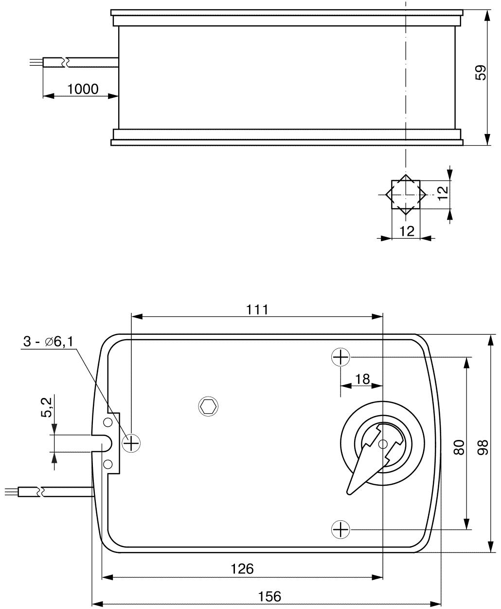 Габаритные размеры электропривода TASA1-10S 10Нм/24В клапана дымоудаления