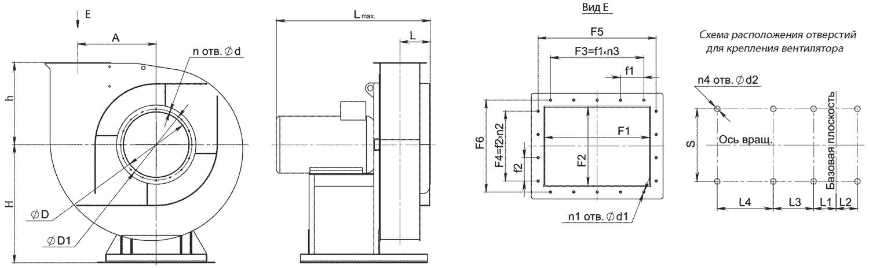 Габаритно-присоединительные размеры вентилятора ВР 132-30-4 исполнение 1