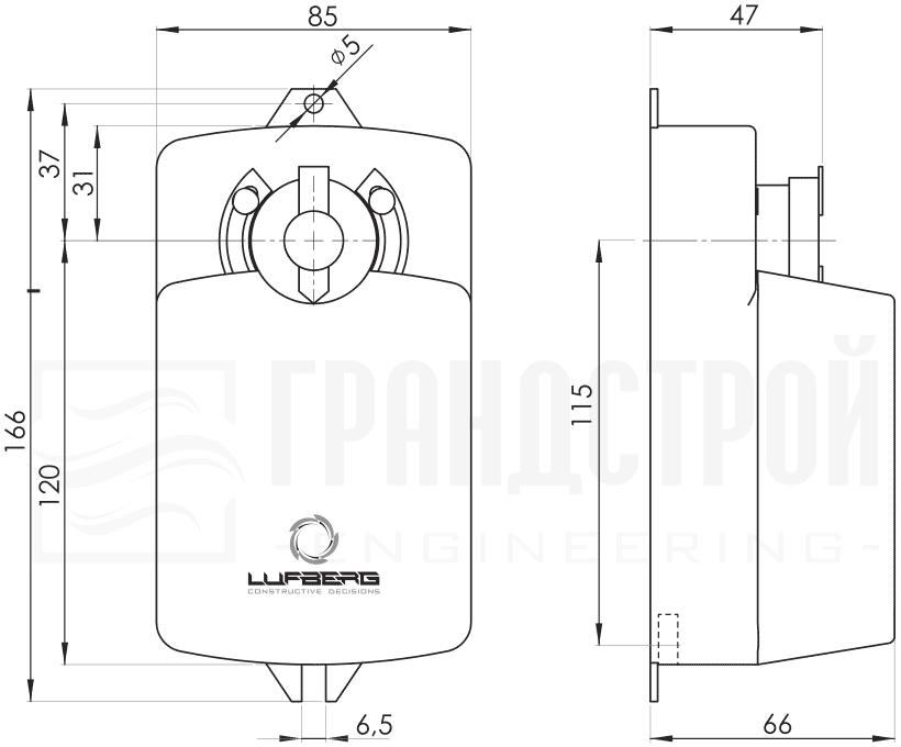 Габаритные размеры электропривода Lufberg DA04N24 4Нм/24В воздушного клапана