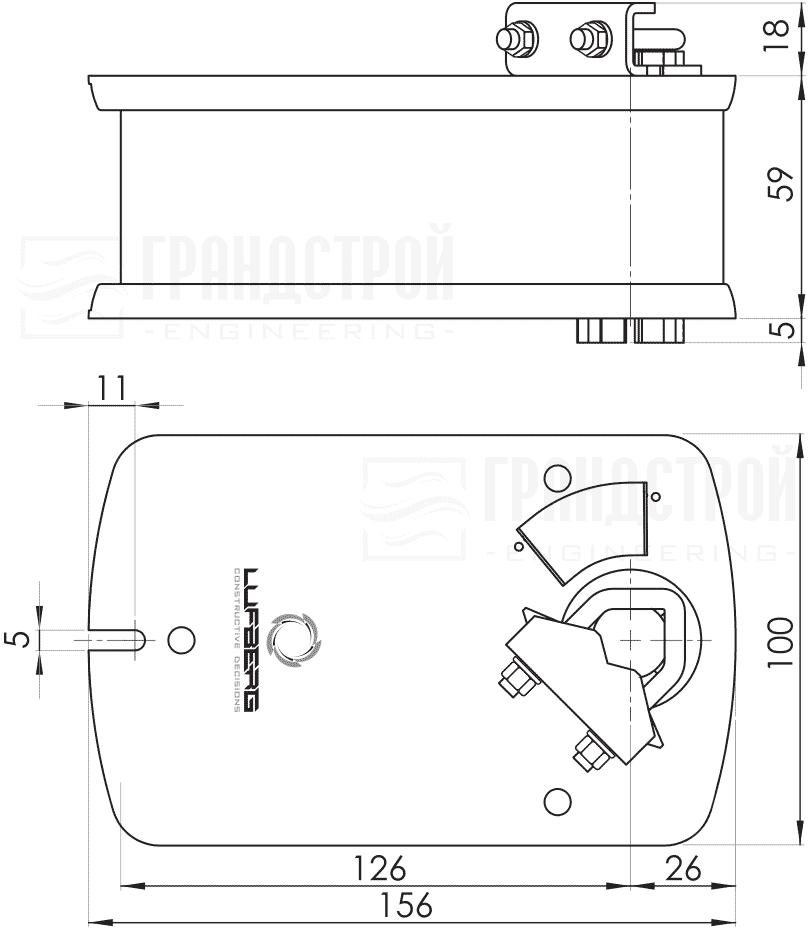 Габаритные размеры электропривода Lufberg DA05S24P 5Нм/24В воздушного клапана