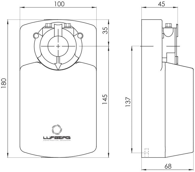 Габаритные размеры электропривода Lufberg DA08N24P 8Нм/24В воздушного клапана