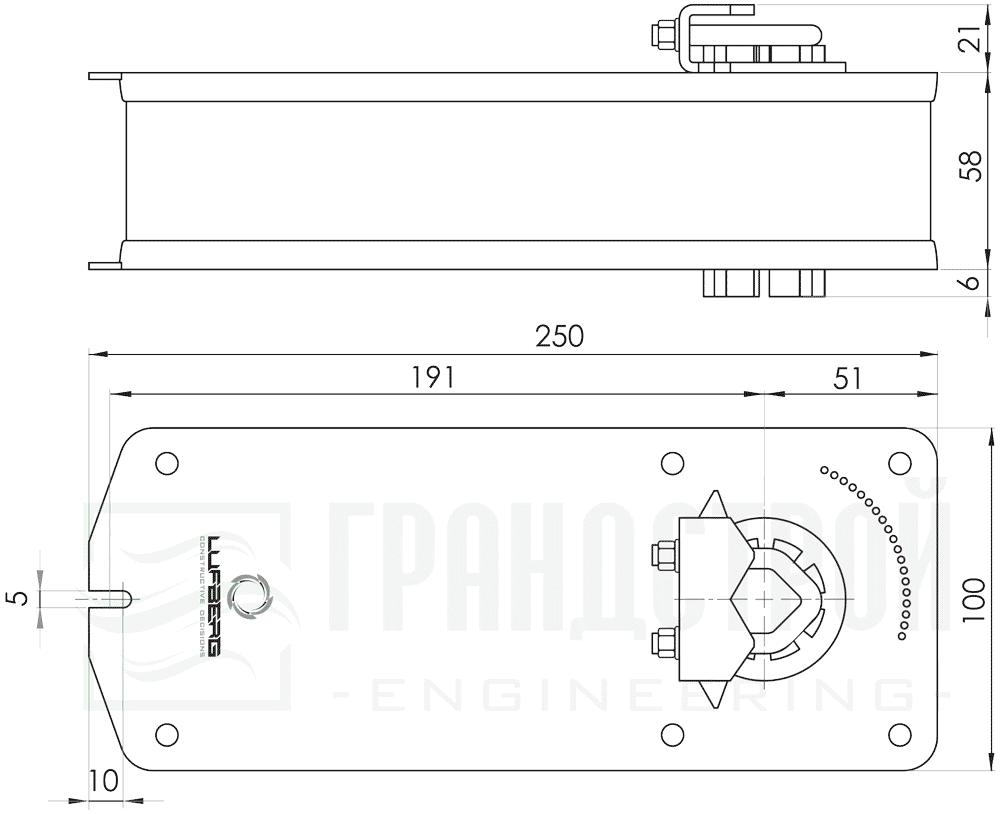 Габаритные размеры электропривода Lufberg DA10S24 10Нм/24В воздушного клапана