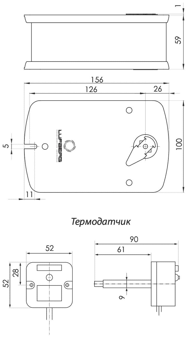 Габаритные размеры электропривода Lufberg FS05S24ST 5Нм/24В противопожарного клапана
