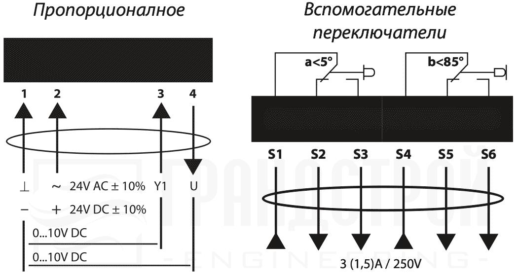 Схема подключения электропривода Lufberg DA10S24P 10Нм/24В воздушного клапана