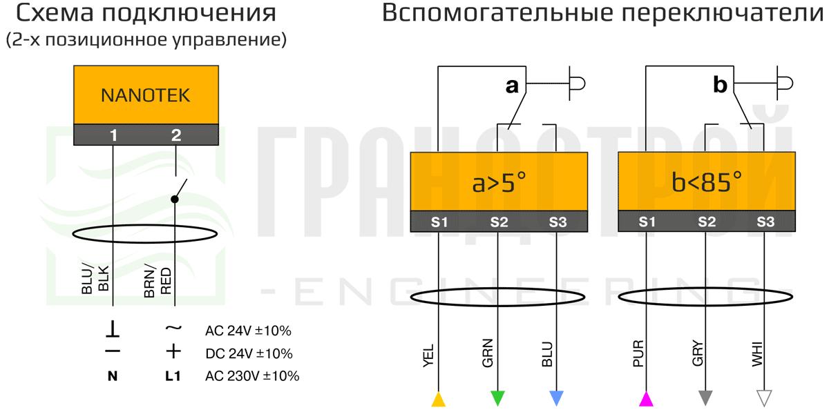 Схема подключения электропривода Nanotek BLF 230 B 3 3Нм/230В противопожарного клапана