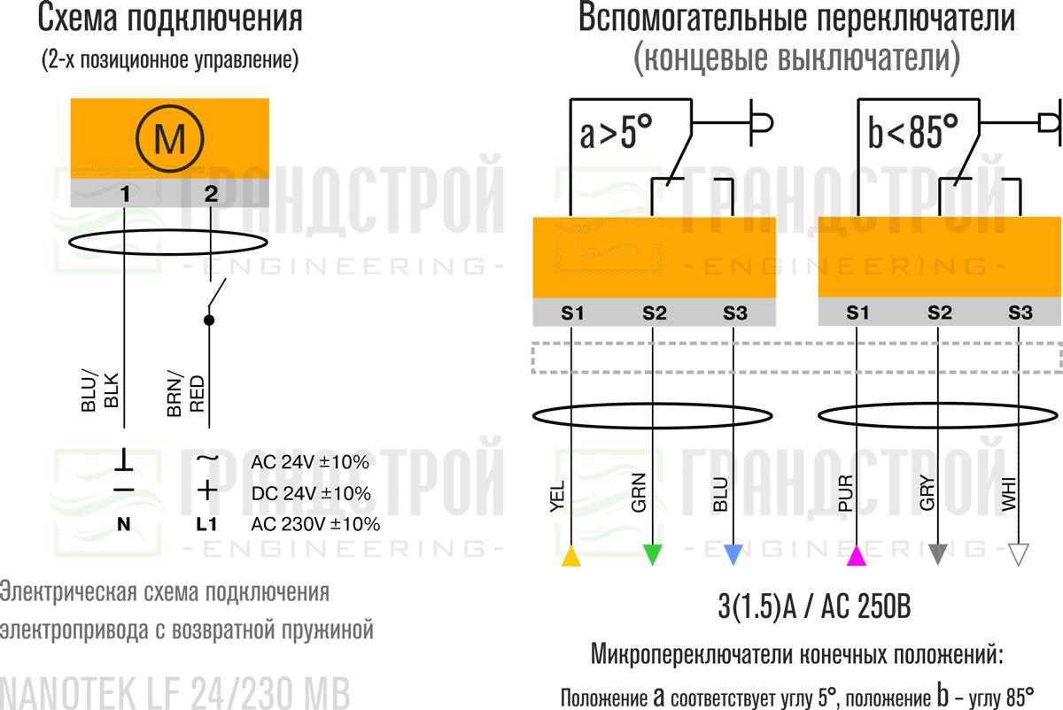 Схема подключения электропривода Nanotek LF 230 B 5Нм/230В