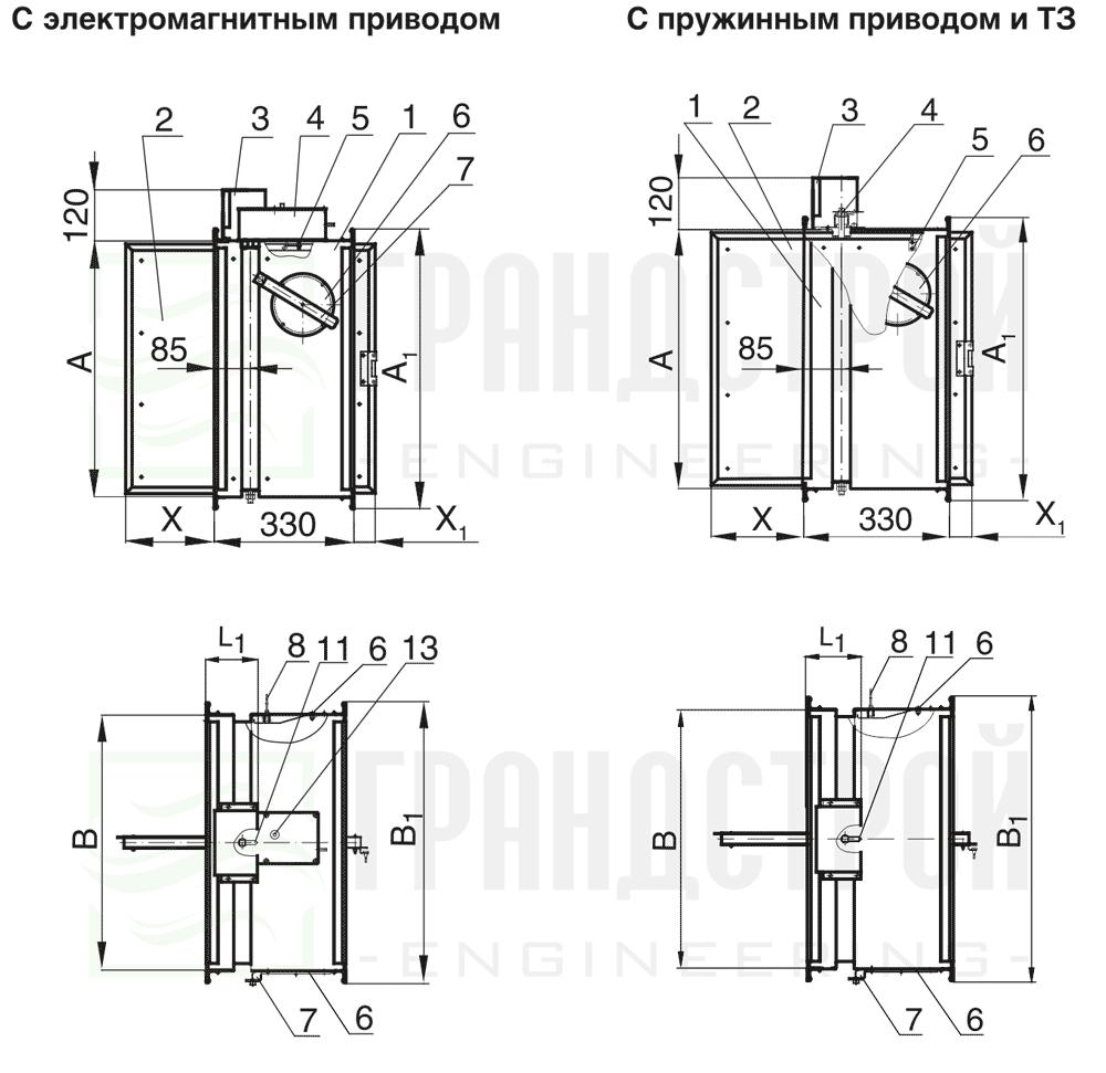 Схема конструкции огнезадерживающего клапана КЛОП-1 60 НО с электромагнитным и пружинным приводом