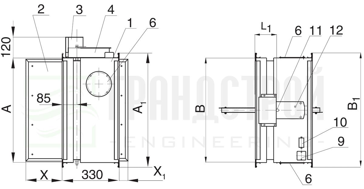 Схема конструкции огнезадерживающего клапана КЛОП-1 90 НО с приводом Belimo