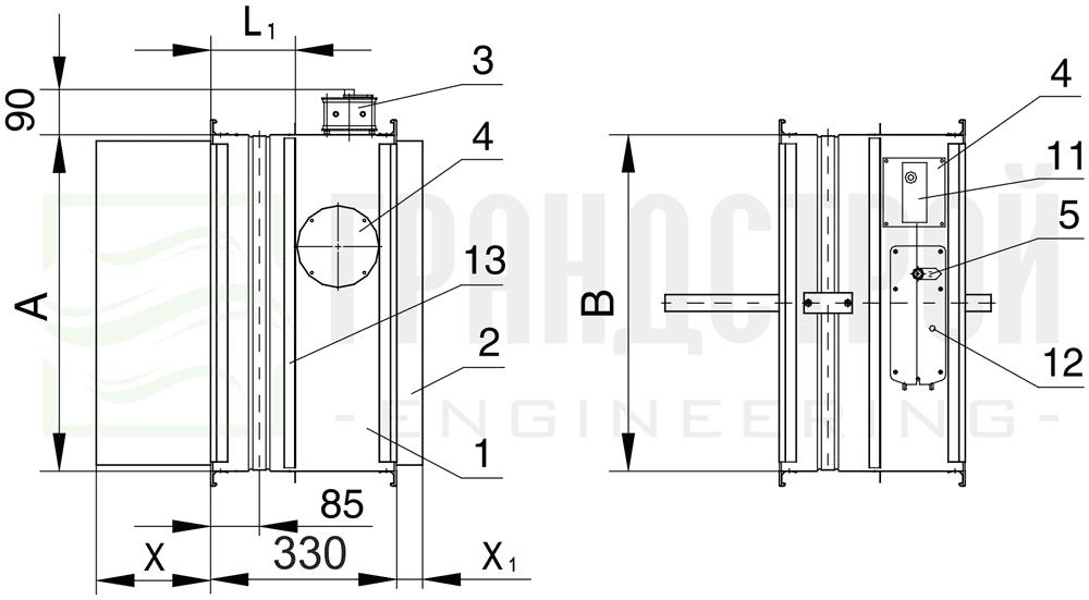 Схема конструкции огнезадерживающего клапана КЛОП-2 120 НО с приводом Belimo