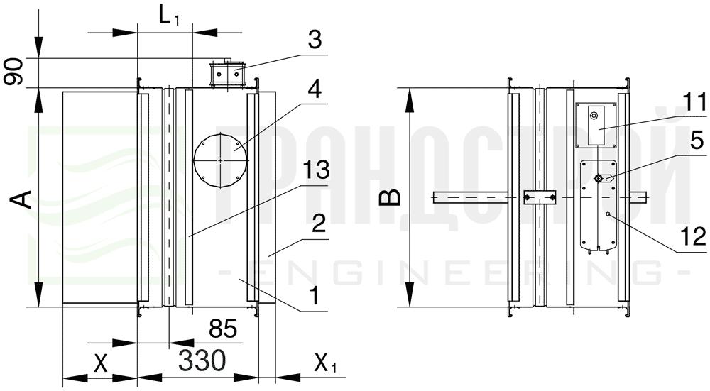 Схема конструкции огнезадерживающего клапана КЛОП-2 90 НО с приводом Belimo