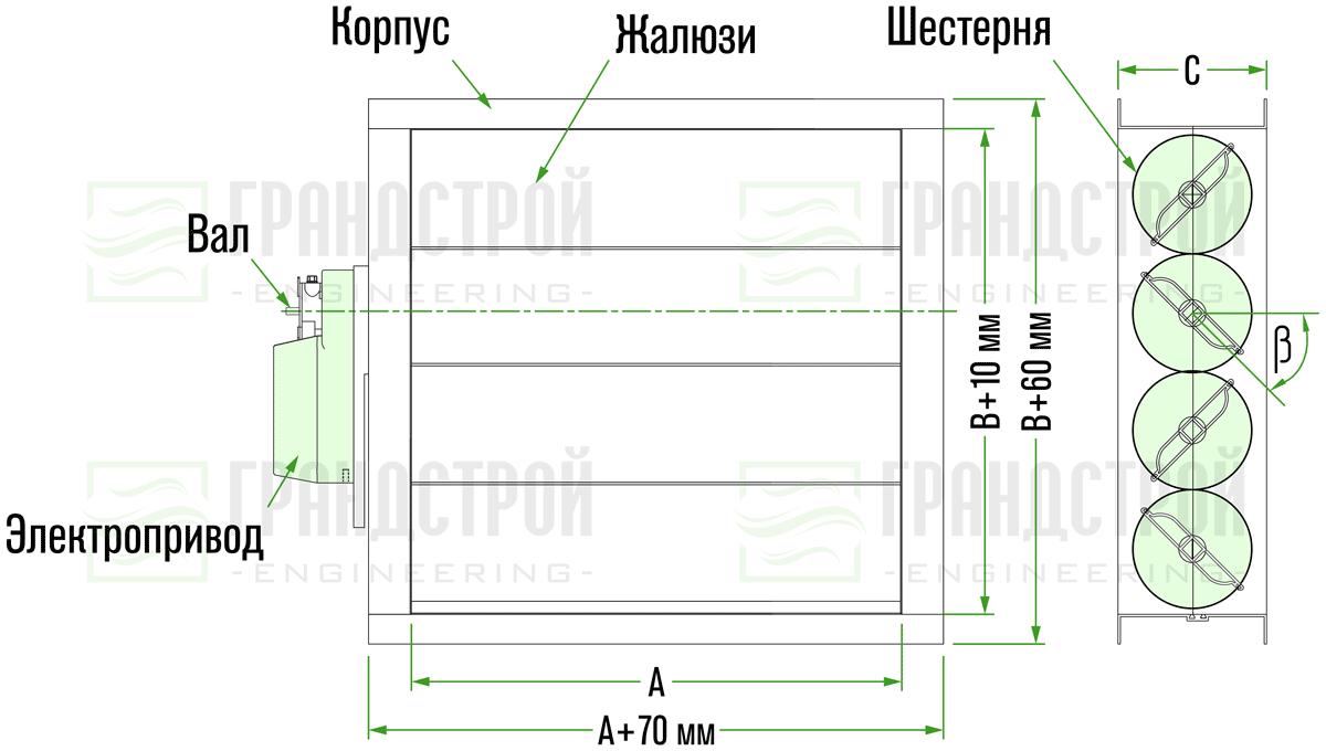 Конструкция и габаритные размеры клапана АВК