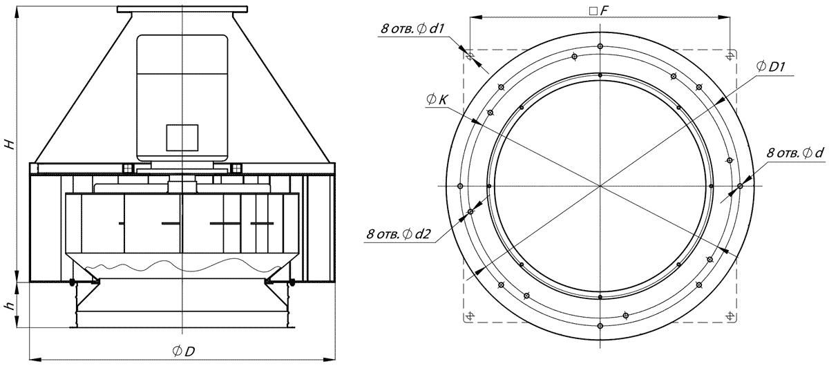 Габаритно-присоединительные размеры вентилятора ВКР №3.55