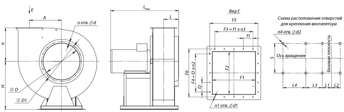 Габаритно-присоединительные размеры вентилятора ВР 280-46-2.5 исполнение 1