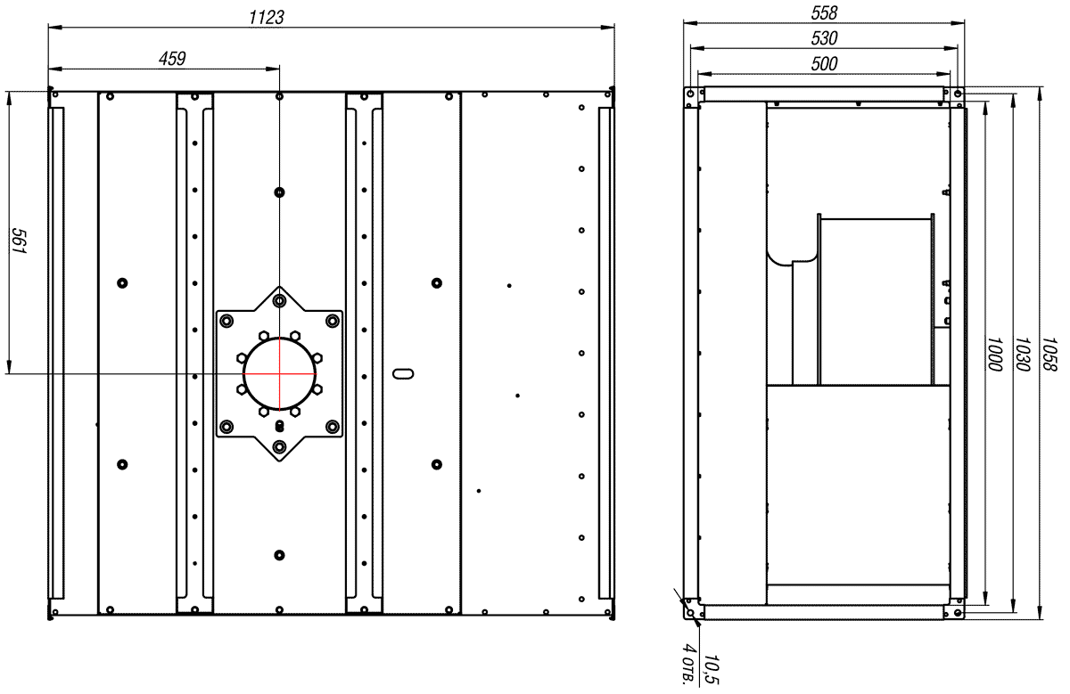 Габаритно-присоединительные размеры канального вентилятора ВКП-Б 100-50-4D