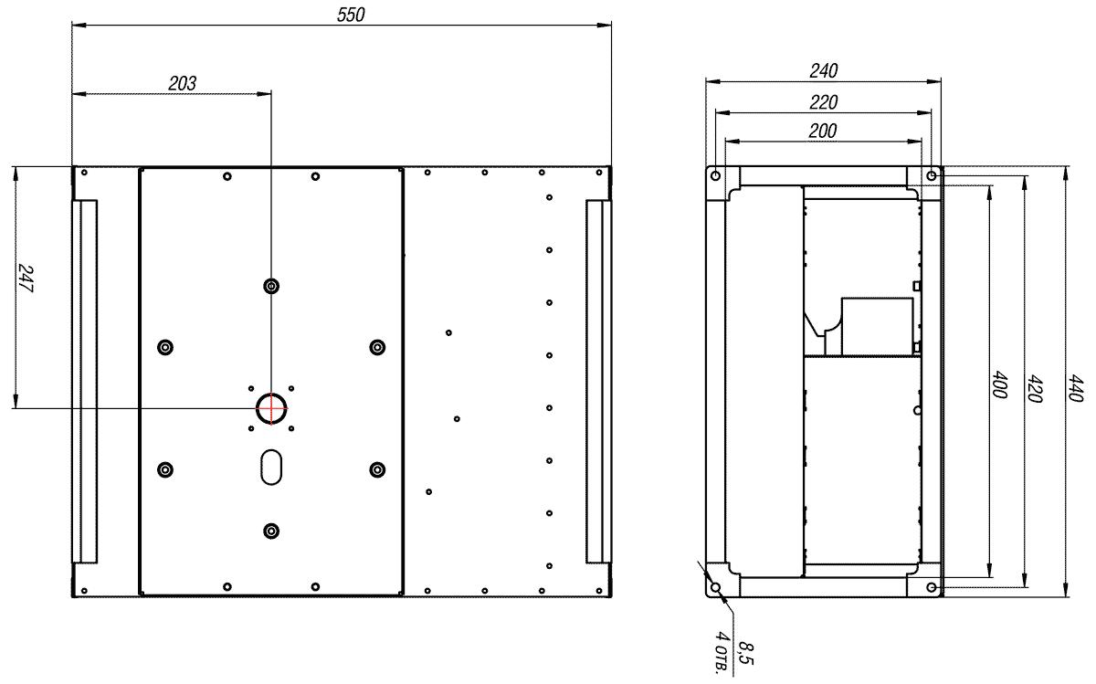 Габаритно-присоединительные размеры канального вентилятора ВКП-Б 40-20-2Е