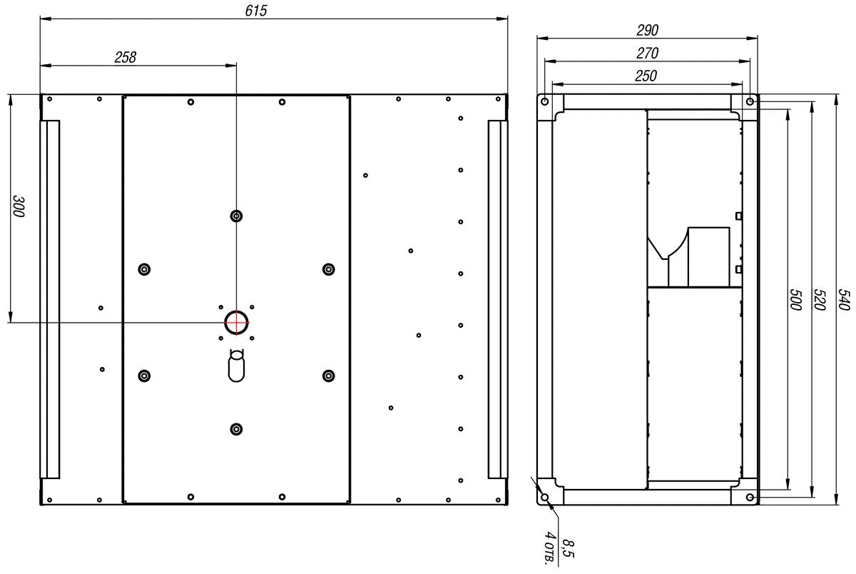 Габаритно-присоединительные размеры канального вентилятора ВКП-Б 50-25-2Е