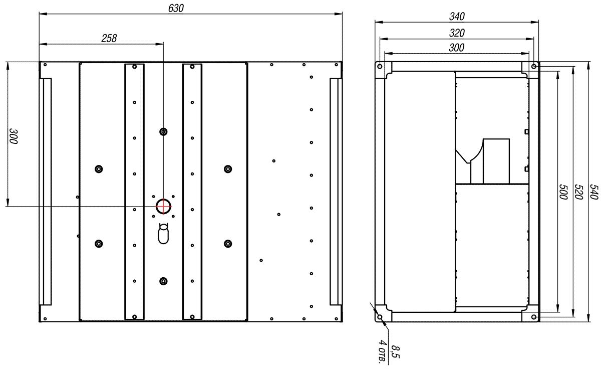 Габаритно-присоединительные размеры канального вентилятора ВКП-Б 50-30-2Е