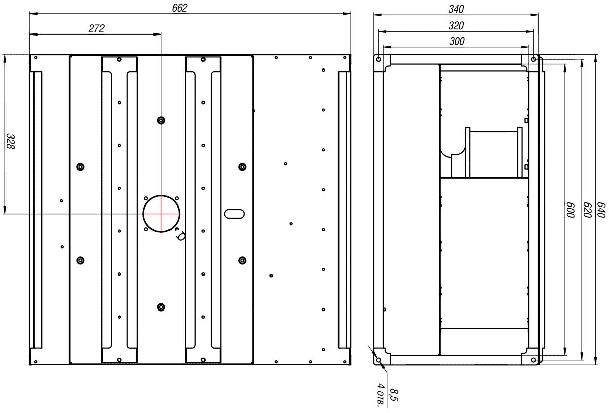 Габаритно-присоединительные размеры канального вентилятора ВКП-Б 60-30-4Е