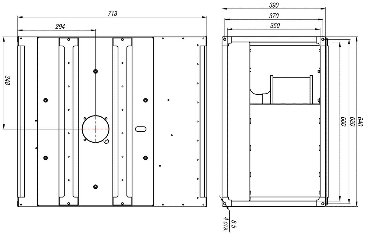Габаритно-присоединительные размеры канального вентилятора ВКП-Б 60-35-4D