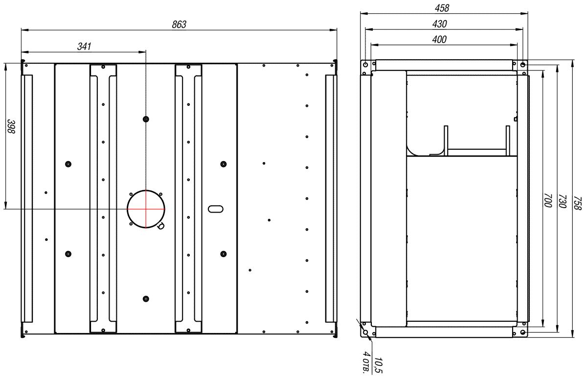 Габаритно-присоединительные размеры канального вентилятора ВКП-Б 70-40-4Е