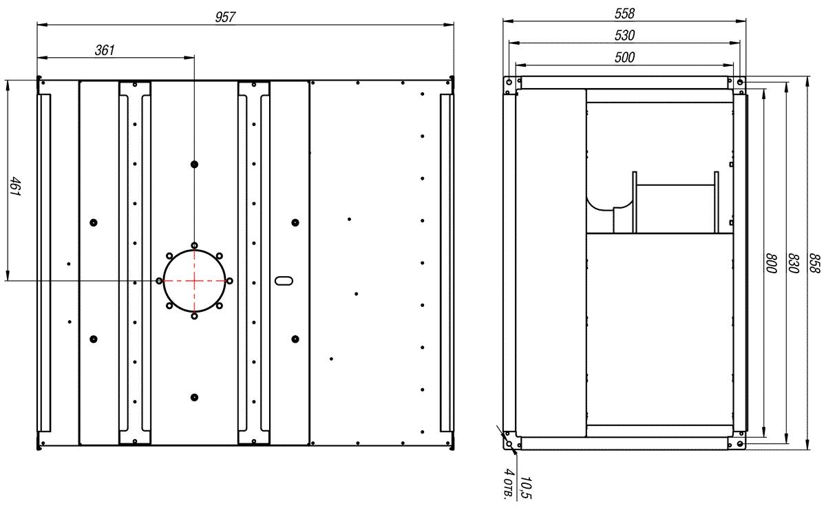 Габаритно-присоединительные размеры канального вентилятора ВКП-Б 80-50-4D