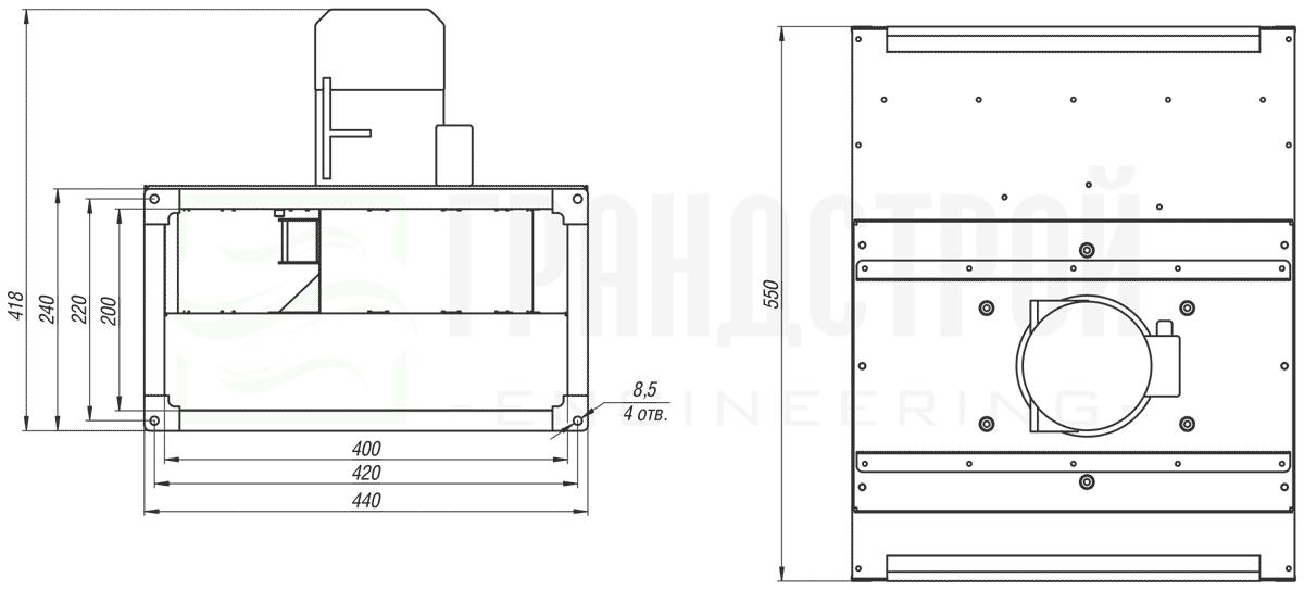Габаритные и присоединительные размеры канального вентилятора ВКПН 40-20-2E-2 с вынесенным двигателем