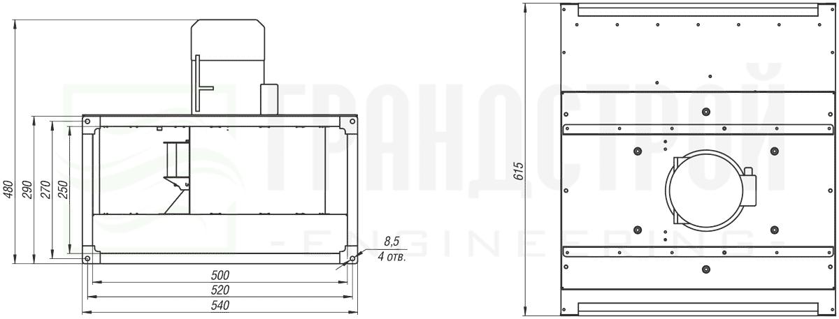 Габаритные и присоединительные размеры канального вентилятора ВКПН 50-25 2D-2.25 с вынесенным двигателем