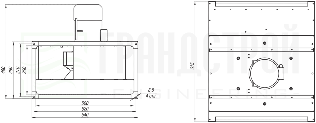 Габаритные и присоединительные размеры канального вентилятора ВКПН 50-25 2E-2.5 с вынесенным двигателем