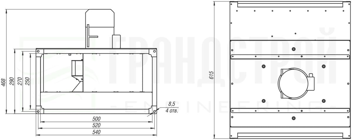 Габаритные и присоединительные размеры канального вентилятора ВКПН 50-25 4E-2.5 с вынесенным двигателем