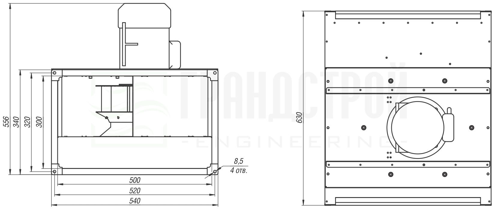 Габаритные и присоединительные размеры канального вентилятора ВКПН 50-30 2D-2.8 с вынесенным двигателем