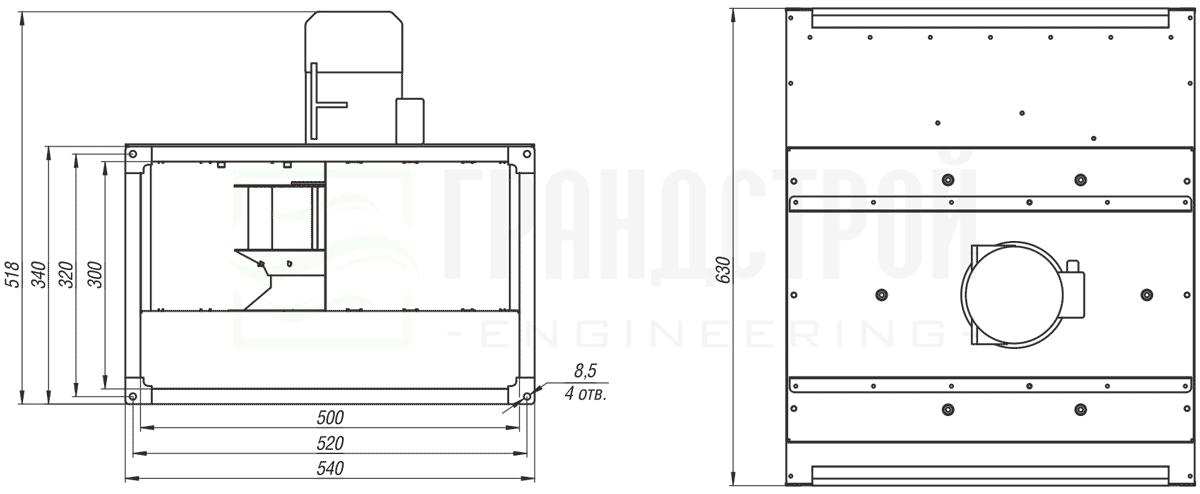 Габаритные и присоединительные размеры канального вентилятора ВКПН 50-30 4D-2.8 с вынесенным двигателем