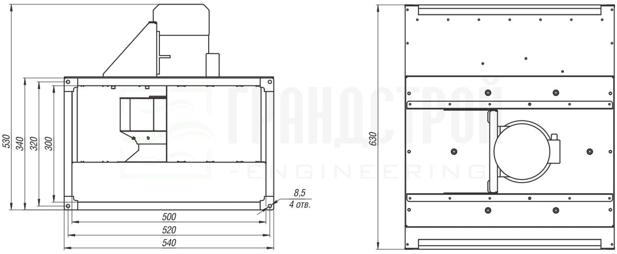 Габаритные и присоединительные размеры канального вентилятора ВКПН 50-30 4D-3.15 с вынесенным двигателем