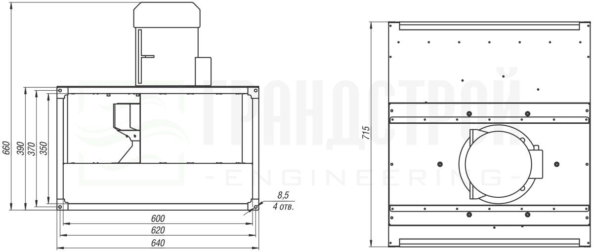 Габаритные и присоединительные размеры канального вентилятора ВКПН 60-35 2D-3.55 с вынесенным двигателем