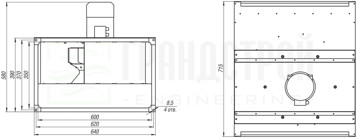 Габаритные и присоединительные размеры канального вентилятора ВКПН 70-40 4D-4 с вынесенным двигателем