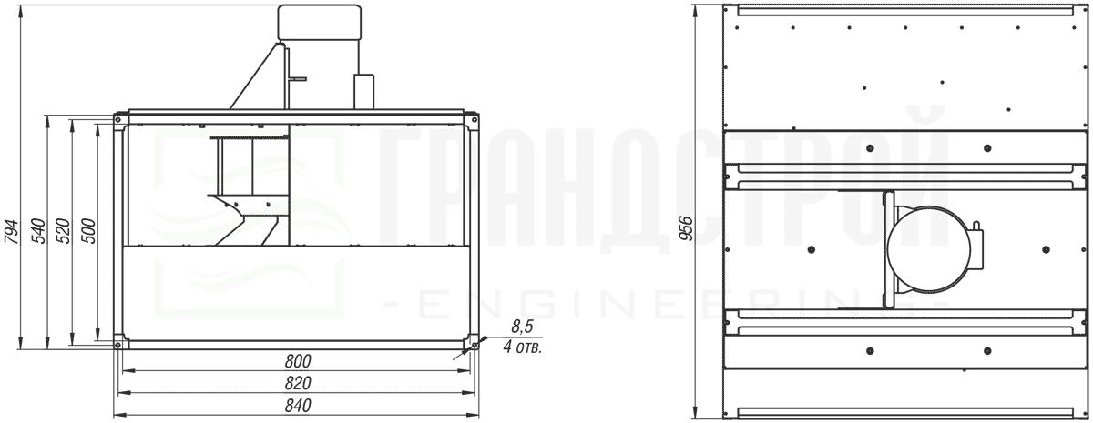 Габаритные и присоединительные размеры канального вентилятора ВКПН 80-50 4D-4.5 с вынесенным двигателем