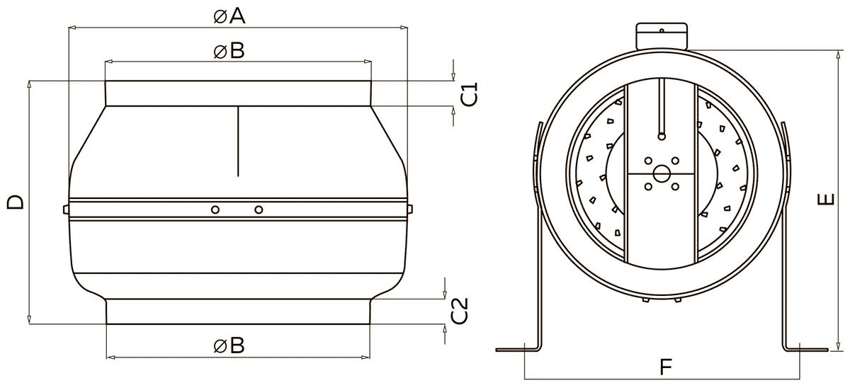 Габаритно-присоединительные размеры канального вентилятора ВКК-315М