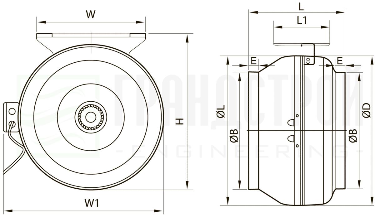 Габаритно-присоединительные размеры канального вентилятора ВК-250